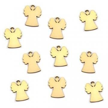 Oblique-Unique® 10 Stück Natur Holz Engel oder Weihnachtsbaum Anhänger mit Schnur als Christbaumschmuck Baumschmuck Christbaumanhänger Geschenkanhänger - Weihnachts Deko (Engel 10er Set) - 1