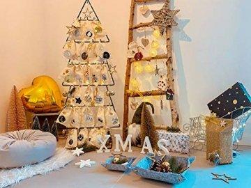 Oblique-Unique® 10 Stück Natur Holz Engel oder Weihnachtsbaum Anhänger mit Schnur als Christbaumschmuck Baumschmuck Christbaumanhänger Geschenkanhänger - Weihnachts Deko (Engel 10er Set) - 7
