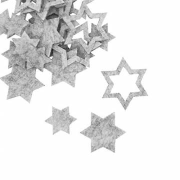 Oblique Unique® 24 Filz Sterne Weihnachtsdeko Tischdeko Weihnachten Deko 3 Motive - Farbe wählbar (Weissgrau) - 1