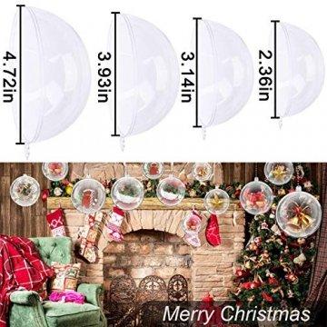 ODOOKON 20 Stück Klar Weihnachtskugeln, 4 Größen Befüllbare DIY Christbaumkugeln aus Plastik, Weihnachtskugeln Baumschmuck, Weihnachten Deko zum Befüllen als Christbaumschmuck - 2