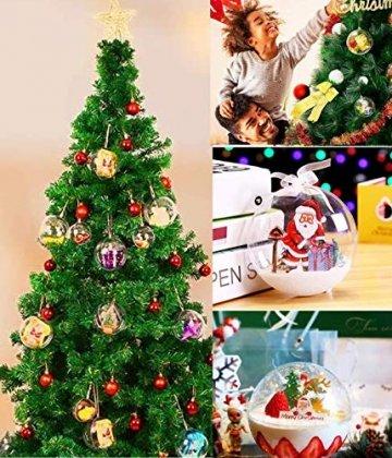 ODOOKON 20 Stück Klar Weihnachtskugeln, 4 Größen Befüllbare DIY Christbaumkugeln aus Plastik, Weihnachtskugeln Baumschmuck, Weihnachten Deko zum Befüllen als Christbaumschmuck - 4