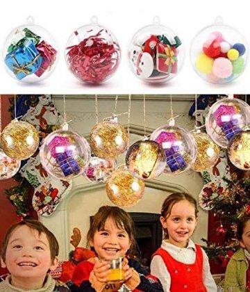 ODOOKON 20 Stück Klar Weihnachtskugeln, 4 Größen Befüllbare DIY Christbaumkugeln aus Plastik, Weihnachtskugeln Baumschmuck, Weihnachten Deko zum Befüllen als Christbaumschmuck - 7