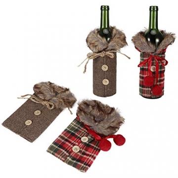 Omabeta Weinflaschendekor Verschleißfeste Weinflaschenkleidung Weinflaschenabdeckung Weihnachtstischdekoration für Weihnachtsfeiern(Fur Collar) - 4