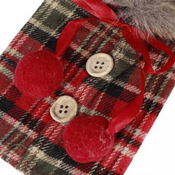 Omabeta Weinflaschendekor Verschleißfeste Weinflaschenkleidung Weinflaschenabdeckung Weihnachtstischdekoration für Weihnachtsfeiern(Fur Collar) - 5