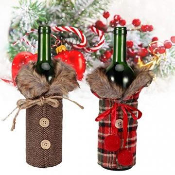 Omabeta Weinflaschendekor Verschleißfeste Weinflaschenkleidung Weinflaschenabdeckung Weihnachtstischdekoration für Weihnachtsfeiern(Fur Collar) - 6