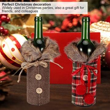 Omabeta Weinflaschendekor Verschleißfeste Weinflaschenkleidung Weinflaschenabdeckung Weihnachtstischdekoration für Weihnachtsfeiern(Fur Collar) - 7
