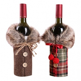 Petalum Weihnachten deko weinrot Weinflasche Flaschenanzug Flaschenüberzug Weihnachtmann Hut Flaschebeutel Flaschetasche Party Restaurant Tischdeko (2PCS, B) - 1