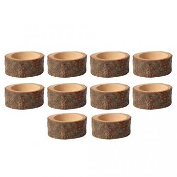 PRETYZOOM 10 Stück Holz Kerzenhalter Dekorativer Teelichthalter Baumstumpf Kerzenständer Vintage Serviettenringe Rustikale Tischdeko Sukkulenten Blumentopf für Hochzeit Landhaus Ornament - 4