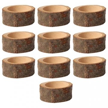 PRETYZOOM 10 Stück Holz Kerzenhalter Dekorativer Teelichthalter Baumstumpf Kerzenständer Vintage Serviettenringe Rustikale Tischdeko Sukkulenten Blumentopf für Hochzeit Landhaus Ornament - 1