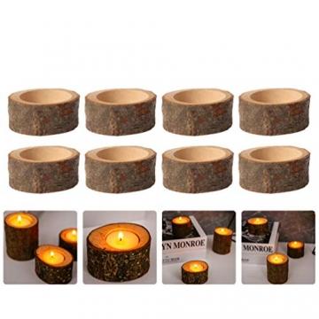 PRETYZOOM 10 Stück Holz Kerzenhalter Dekorativer Teelichthalter Baumstumpf Kerzenständer Vintage Serviettenringe Rustikale Tischdeko Sukkulenten Blumentopf für Hochzeit Landhaus Ornament - 9