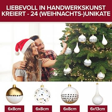 Pure Living Weihnachtskugeln Glas im wunderschönen Handwerk-Design - 24-tlg. Set mit exklusiven Christbaumkugeln Glas - Weihnachtsbaumkugeln in EU Premium-Qualität - Einzigartig-festlicher Baumschmuck - 4