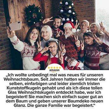 Pure Living Weihnachtskugeln Glas im wunderschönen Handwerk-Design - 24-tlg. Set mit exklusiven Christbaumkugeln Glas - Weihnachtsbaumkugeln in EU Premium-Qualität - Einzigartig-festlicher Baumschmuck - 7