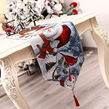 Qlans Weihnachtstischläufer, Weihnachtstischwäsche Home Tischdecke für Weihnachtsdekoration - 5 Stile - 1