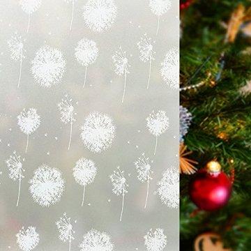 rabbitgoo Fensterfolie Fensterbilder Pusteblume Selbstklebend Sichtschutzfolie Milchglasfolie für Bad statische Haftende Folie Winter Deko Anti UV & Sichtschutz Weihnachten Fensterdeko 44.5 x 200CM - 1