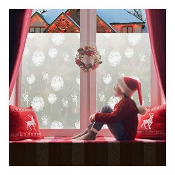 rabbitgoo Fensterfolie Fensterbilder Pusteblume Selbstklebend Sichtschutzfolie Milchglasfolie für Bad statische Haftende Folie Winter Deko Anti UV & Sichtschutz Weihnachten Fensterdeko 44.5 x 200CM - 8