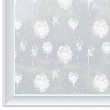 rabbitgoo Fensterfolie Fensterbilder Pusteblume Selbstklebend Sichtschutzfolie Milchglasfolie für Bad statische Haftende Folie Winter Deko Anti UV & Sichtschutz Weihnachten Fensterdeko 44.5 x 200CM - 9