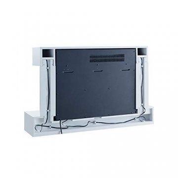 RICHEN Elektrokamin Aidan - Elektrischer Wandkamin mit Heizung, LED-Beleuchtung, 3D-Flammeneffekt & Fernbedienung - Elektrischer Kamin Weiß - 3