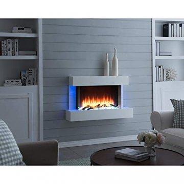 RICHEN Elektrokamin Aidan - Elektrischer Wandkamin mit Heizung, LED-Beleuchtung, 3D-Flammeneffekt & Fernbedienung - Elektrischer Kamin Weiß - 4