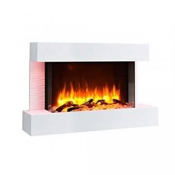 RICHEN Elektrokamin Aidan - Elektrischer Wandkamin mit Heizung, LED-Beleuchtung, 3D-Flammeneffekt & Fernbedienung - Elektrischer Kamin Weiß - 1