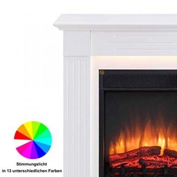 RICHEN Elektrokamin Ladina - Elektrischer Standkamin Mit Heizung, LED-Beleuchtung, 3D-Flammeneffekt & Fernbedienung - Weiß - 4