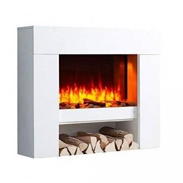 RICHEN Elektrokamin Naran - Standkamin Mit Heizung, LED-Beleuchtung, 3D-Flammeneffekt & Fernbedienung - Elektrischer Kamin Weiß - 1