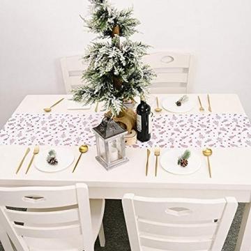 Romantischer Weihnachts-Tischläufer, Weihnachts-Tischwäsche, Tischflagge für Weihnachtsdekoration, Tischdecke, Sterne oder Weihnachtsbaum, 180 x 36 cm - 3