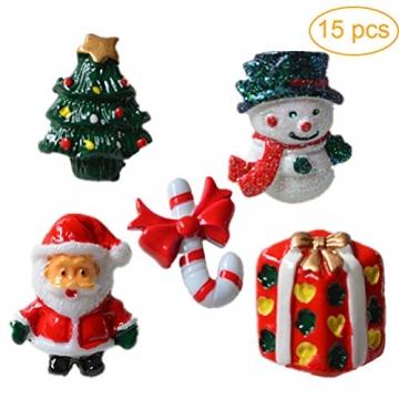 ROSENICE Figuren Deko Weihnachten Tischdeko Weihnachtsmannfigur Schneemannfigur Weihnachtsbaum Figuren Geschenke Miniatur Verzierungen DIY Zusätze 15pcs - 8