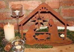 Rostikal Krippe Weihnachten 28 x 35 cm mit Figuren Edelrost Gartenstecker Gartendeko - 1