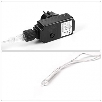 SALCAR 10m LED Lichtvorhang + 3m Netzkabel, dekorative LED Lichterkette mit 400 spritzwassergeschützten LEDs, 31V Sicherheitsnetzteil, 8 Betriebsmodi mit Memory-Funktion - Warmweiß - 5