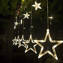SALCAR Lichterkette mit LED Kugel 12 Sterne 138 Leuchtioden Lichtervorhang 8 Modi Innen & Außenlichterkette Wasserdicht Dekoration für Weihnachten - 1