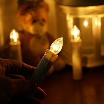 Samoleus 10 Stück Weihnachtskerzen Lichterkette, Weihnachts Kerzen Kabellos mit Fernbedienung, Wasserdichte Christbaumkerzen LED Kerzenlichter Kabellos für Weihnachtsbaum Hochzeit (Warmweiß - 10er) - 2