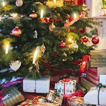 Samoleus 10 Stück Weihnachtskerzen Lichterkette, Weihnachts Kerzen Kabellos mit Fernbedienung, Wasserdichte Christbaumkerzen LED Kerzenlichter Kabellos für Weihnachtsbaum Hochzeit (Warmweiß - 10er) - 4