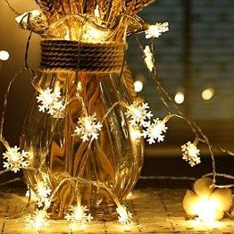 Schneeflocke Lichterketten, 6M 40Pcs LED Batteriebetriebene Lichterketten, Shining Decoration Lightning für Valentinstag Weihnachten Hochzeit Geburtstag Party Schlafzimmer Indoor&Outdoor (Warm White) - 1