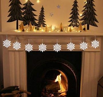 Schneeflocken Weihnachtsbaumschmuck Set,Weihnachtsbaum Anhänger,Schneeflocke Weihnachtsbaum Hängende Ornamente Schneeflocke Weihnachtsbaumschmuck Weihnachtsdeko (B) - 2