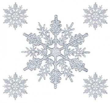 Schneeflocken Weihnachtsbaumschmuck Set,Weihnachtsbaum Anhänger,Schneeflocke Weihnachtsbaum Hängende Ornamente Schneeflocke Weihnachtsbaumschmuck Weihnachtsdeko (B) - 4