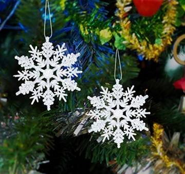 Schneeflocken Weihnachtsbaumschmuck Set,Weihnachtsbaum Anhänger,Schneeflocke Weihnachtsbaum Hängende Ornamente Schneeflocke Weihnachtsbaumschmuck Weihnachtsdeko (B) - 1