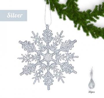 Schneeflocken Weihnachtsbaumschmuck Set,Weihnachtsbaum Anhänger,Schneeflocke Weihnachtsbaum Hängende Ornamente Schneeflocke Weihnachtsbaumschmuck Weihnachtsdeko (B) - 5