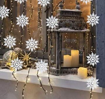 Schneeflocken Weihnachtsbaumschmuck Set,Weihnachtsbaum Anhänger,Schneeflocke Weihnachtsbaum Hängende Ornamente Schneeflocke Weihnachtsbaumschmuck Weihnachtsdeko (B) - 6