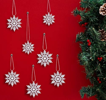 Schneeflocken Weihnachtsbaumschmuck Set,Weihnachtsbaum Anhänger,Schneeflocke Weihnachtsbaum Hängende Ornamente Schneeflocke Weihnachtsbaumschmuck Weihnachtsdeko (B) - 9