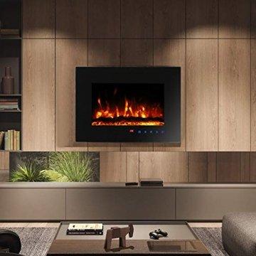 Sekey Home Elektrokamin | Deko-Kamin | Wandkamin mit Heizlüfter | Thermostat | Wochentimer | LED-Beleuchtung | 3D Flammeneffekte | 7 Flammenfarben | Fernbedienung | Geräuscharm | Wandmontage | Schwarz - 8