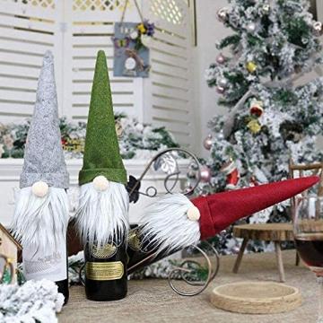 SENLUO Weinflaschen-Abdeckung, klassische gesichtslose Weihnachtsmann-Geschenktüten, aktualisierte Weihnachtstischdekoration für Urlaubsparty-Dekoration (3 verschiedene Farben) - 2