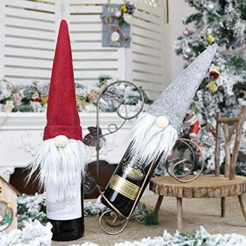 SENLUO Weinflaschen-Abdeckung, klassische gesichtslose Weihnachtsmann-Geschenktüten, aktualisierte Weihnachtstischdekoration für Urlaubsparty-Dekoration (3 verschiedene Farben) - 3