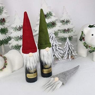 SENLUO Weinflaschen-Abdeckung, klassische gesichtslose Weihnachtsmann-Geschenktüten, aktualisierte Weihnachtstischdekoration für Urlaubsparty-Dekoration (3 verschiedene Farben) - 4