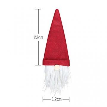 SENLUO Weinflaschen-Abdeckung, klassische gesichtslose Weihnachtsmann-Geschenktüten, aktualisierte Weihnachtstischdekoration für Urlaubsparty-Dekoration (3 verschiedene Farben) - 7