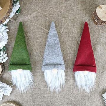 SENLUO Weinflaschen-Abdeckung, klassische gesichtslose Weihnachtsmann-Geschenktüten, aktualisierte Weihnachtstischdekoration für Urlaubsparty-Dekoration (3 verschiedene Farben) - 8