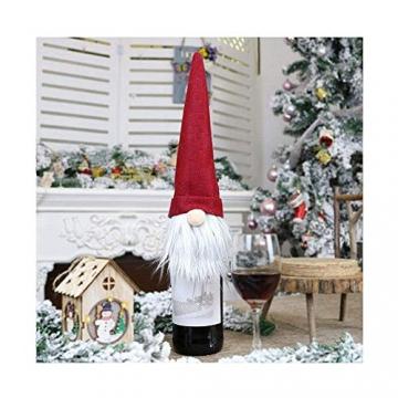 SENLUO Weinflaschen-Abdeckung, klassische gesichtslose Weihnachtsmann-Geschenktüten, aktualisierte Weihnachtstischdekoration für Urlaubsparty-Dekoration (3 verschiedene Farben) - 10