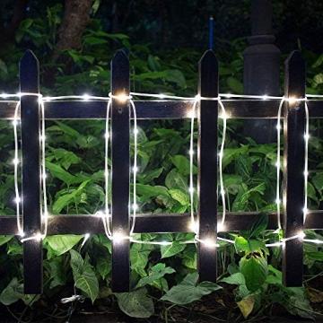 ShinePick Solar Lichterkette Aussen, 12M 100 LED Solar Lichtschlauch, Automatisch An/Ausschalten Wasserdicht Solarlichterkette Außenlichterkette Weihnachtsbeleuchtung für Garten Aussen Deko(Weiß) - 2