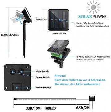 ShinePick Solar Lichterkette Aussen, 12M 100 LED Solar Lichtschlauch, Automatisch An/Ausschalten Wasserdicht Solarlichterkette Außenlichterkette Weihnachtsbeleuchtung für Garten Aussen Deko(Weiß) - 5