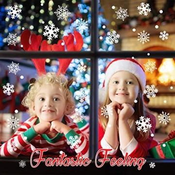Sinwind 162 Schneeflocken Fensterbild, Fensterbilder Weihnachten Selbstklebend, Winter-deko Weinachts Dekoration, Weihnachten Fenstersticker, Winter Deko Weihnachtsdeko - 2
