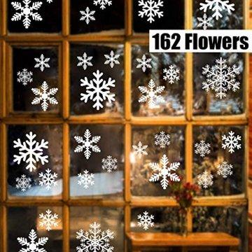 Sinwind 162 Schneeflocken Fensterbild, Fensterbilder Weihnachten Selbstklebend, Winter-deko Weinachts Dekoration, Weihnachten Fenstersticker, Winter Deko Weihnachtsdeko - 1